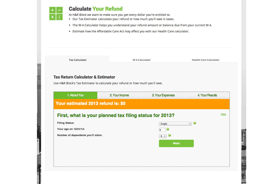 Tax Calculator before redesign