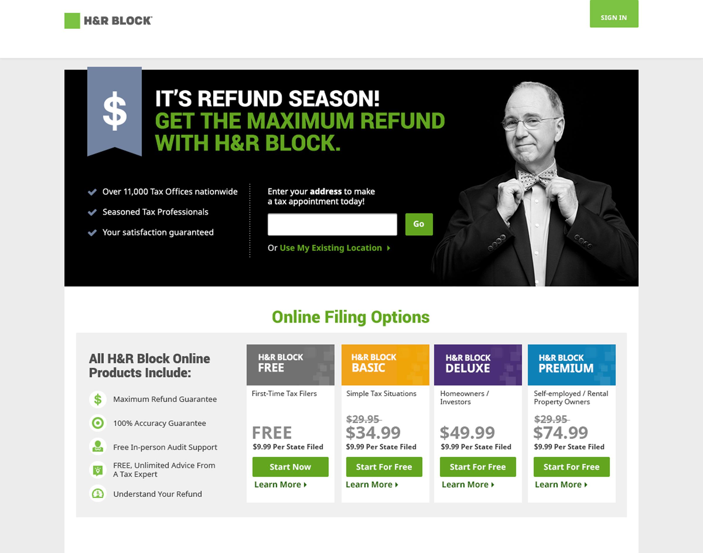 H&R Block homepage