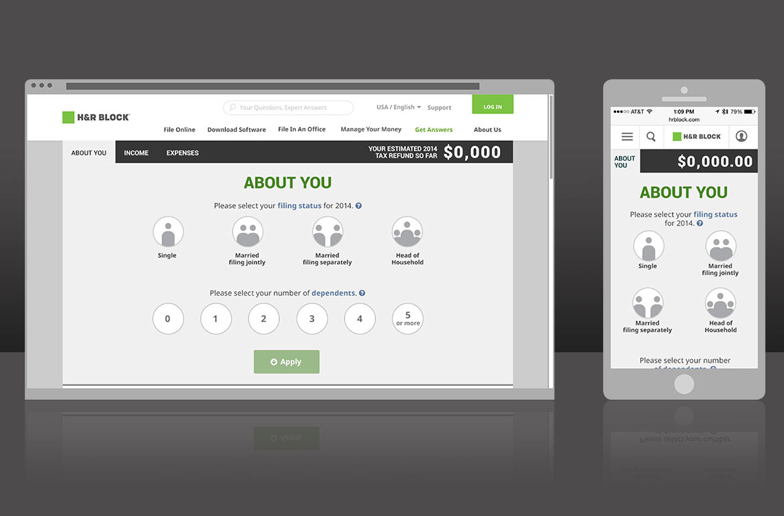 h&r block tax calculator ux design