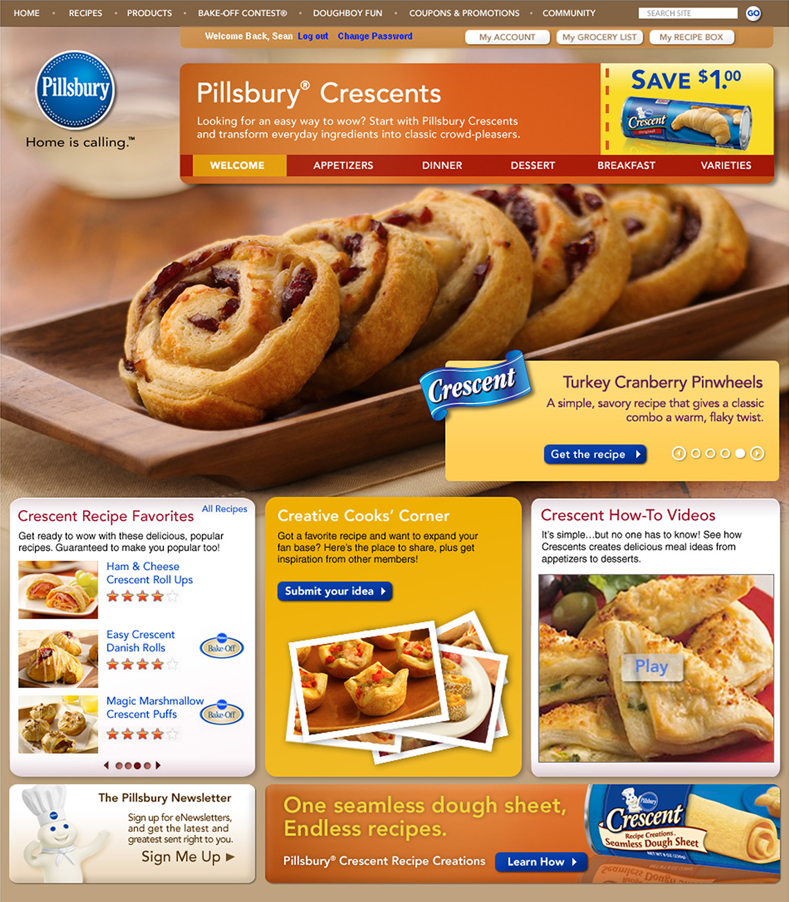 Pillsbury homepage